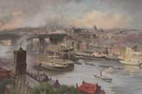 After Neils Moeller Lund : Newcastle upon Tyne from Gateshead, 1896, chromolithograph, 49 cm x 84 cm, framed.