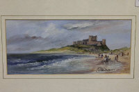 Frank Burke : Bamburgh Castle, oil on board, signed, 13 cm x 29 cm, framed.