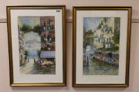 M. Gianni : Italian street scene with flower stalls, watercolour, signed, 50 cm x 30 cm, together with the companion piece, both parts framed. (2)