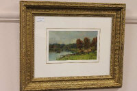 Tom Seymour : 'Loch Fad, Rothesay, Bute', oil on board, signed, 14 cm x 24 cm, framed.