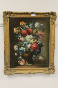 Early Twentieth century Dutch School : 'Mixed flowers in a vase', oil on board, 49 cm x 38 cm, framed.
