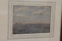 Dixon Clark : 'Shipping off the North East coast', watercolour, signed, 18 cm x 26 cm, framed.