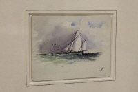 William Banks Fortescue : 'An English Lugger under sail', watercolour, signed with initials, 10 cm x 14 cm, framed.