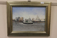 Sheila Turner : 'Tugboat on the River Mersey', oil on panel, signed, 29cm x 39 cm, framed.