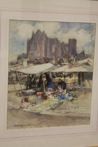 Ethel Mallinson : 'Continental market scene', watercolour, signed, 37 cm x 30 cm, framed.