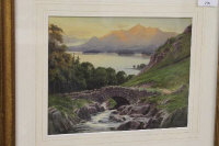 Edward Horace Thompson : 'Ashness Bridge, towards Skiddaw', watercolour, signed, 19 cm x 24 cm, framed.