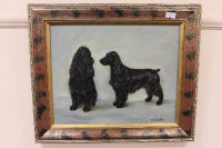 Henry Luker : 'Two black spaniels', oil on canvas, signed, 40 cm x 50 cm, framed.