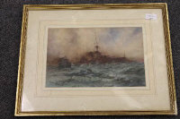 William Minshall Birchall : 'Ready aye ready', watercolour, signed, dated 1918, 21 cm x 31 cm, framed.
