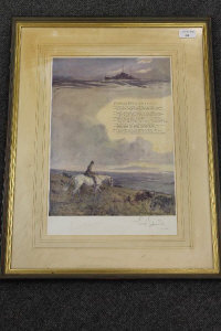After Lionel Edwards : Portland Bill, reproduction in colours, signed in pencil, published by The Sporting Gallery Ltd, 40 cm x 27 cm, framed.