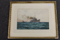William Minshall Birchall : 'With the Dover patrol 'Broke' and 'Swift'', watercolour, signed, dated 1917, 21 cm x 31 cm, framed.