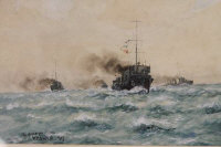 William Minshall Birchall : 'The destroyer Flotilla', watercolour, signed, dated 1917, 21 cm x 31 cm, framed.