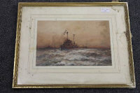 William Minshall Birchall : 'Prepared for action', watercolour, signed, dated 1918, 21 cm x 31 cm, framed.