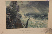 After Charles Johnson Payne (Snaffles) : West of Gib and north across the bay, reproduction in colours, signed in pencil, with artists blind stamp, 47 cm x 66 cm, framed.