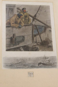 After Charles Johnson Payne (Snaffles) : RNRT two seamen on watch duty, reproduction in colours, signed in pencil under mount, with remarque, 39 cm x 29 cm, framed.