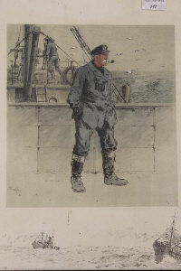 After Charles Johnson Payne (Snaffles) : RNRT Seaman smoking a pipe, reproduction in colours, signed in pencil, with remarques, 43 cm x 40 cm.