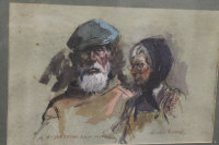 Ronald Moore : A fisherman and wife, watercolour, signed, 28 cm x 43 cm, framed.