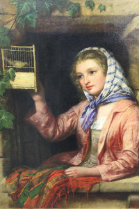 Edward John Cobbett : A young girl with bird in cage, oil on canvas, signed, 60 cm x 50 cm, framed.