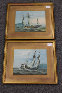 Early twentieth century Chinese school : A junk in choppy waters, watercolour, 19 cm x 24 cm, together with the companion piece, both parts framed. (2)