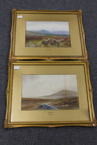 William Henry Dyer : Dartmoor, a pair of watercolours, both signed, 24 cm x 34 cm, both parts framed. (2)