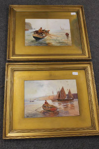R. Douglas : Gathering clouds, watercolour, signed, 25 cm x 35 cm, together with the companion piece entitled 'Toiler's of the sea', both parts framed. (2)