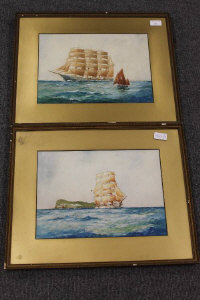 William Minshall Birchall : A French Tour Master, watercolour with body colour, signed, dated 1923, 25 cm x 35 cm, together with the companion piece, both parts framed. (2)