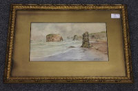 Thomas Swift Hutton : Marsden rock, watercolour, signed, 17 cm x 32 cm, framed.