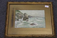 Thomas Swift Hutton :  A rocky headland, watercolour, signed, 19 cm x 30 cm, framed.