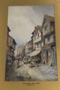 Charles James Keats : Butcher's row 1786, watercolour, signed 50 cm x 30 cm, together with three similar all depicting Coventry scenes, all parts framed. (4)