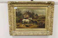 After John Frederick Herring : Horses with pigs and birds in a farm yard, oil on board, bearing a signature, 28 cm x 40 cm, framed.