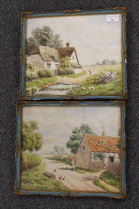 E. Lewis : A lady outside a thatched cottage, watercolour, signed, 25 cm x 30 cm, together with the companion piece, both parts framed. (2)