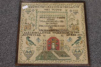 Nineteenth century school : Remember thy creator, sampler, dated 1830, 45 cm x 45 cm, framed.