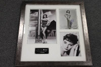 A montage relating to Joan Collins, comprising of three monochrome images (one signed), and mounted with a plaque, 64 cm x 60 cm, framed.