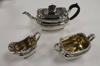 A three piece silver tea service, Elkington & Co, Birmingham 1905, 42 oz. (3)