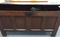 An eighteenth century oak blanket chest, width 138 cm.