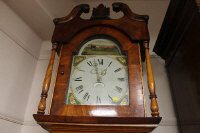 A Victorian mahogany longcased clock with painted dial by Johnson, Barnard Castle.