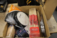 "A pair of drum stick cases containing sticks, together with a box of Remo 14"" drum skins, a quantity of new sticks and accessories. (Q)"