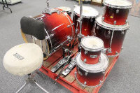 A Mapex nine piece drum kit with stool (10)