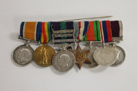 A group of eight campaign medals awarded to Pte. H. Forth and N.E.Forth, with suspension ribbons on rail.