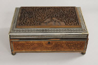 An early twentieth century Anglo-Indian carved and inlaid jewellery casket, width 31 cm.