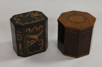 A nineteenth century inlaid mahogany and satinwood octagonal tea caddy, width 12.5 cm, together with another caddy of later manufacture. (2)
