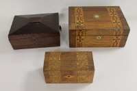 A Victorian parquetry inlaid writing slope, together with a tea caddy of similar design and a rosewood jewellery box. (3)