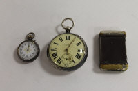A silver pocket watch, Chester 1891, together with a small silver and enamel fob watch and a vesta case. (3)