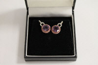 A pair of 9ct gold amethyst, pink topaz and diamond earrings. (2)