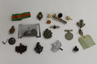 A collection of military cap and lapel badges, together with a WW II defence medal and a whistle. (Q)