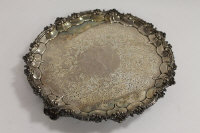 A silver tray with shell scroll borders, London 1842, 31 oz.