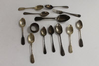 Five silver teaspoons, Chester 1846, together with seven pieces of silver cutlery and a silver napkin ring. (13)