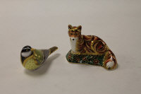 Two Royal Crown Derby English bone china paperweights : Devonian Fox Cub, height 9cm, and Great Tit, height 7 cm, both boxed. (2)