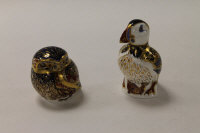Two Royal Crown Derby English bone china paperweights : Little Owl, height 8 cm, and Puffin, height 13 cm, both boxed. (2)