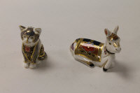 Two Royal Crown Derby English bone china paperweights : Holly The Donkey, height 9 cm, and Fireside Kitten, height 8 cm, both boxed. (2)
