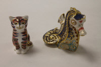 Two Royal Crown Derby English bone china paperweights : Coral Sea Horse, height 10 cm, and Kitten, height 8 cm, both boxed. (2)